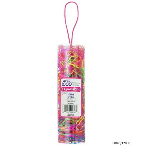 Expressions 2334254 Bright Snag Free Rubber Bands in Canister - 1200 Count - Case of 48