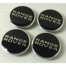 RANGE ROVER BLACK CHROME 63MM WHEEL CENTRE CAPS SPORT FREELANDER x 4