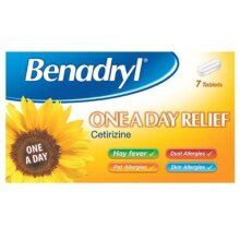 Pack of Three Benadryl One a Day Relief Cetrizine 7 Tablets