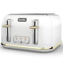 Breville VTT976 Flow Collection 4 Slice Toaster White / Gold