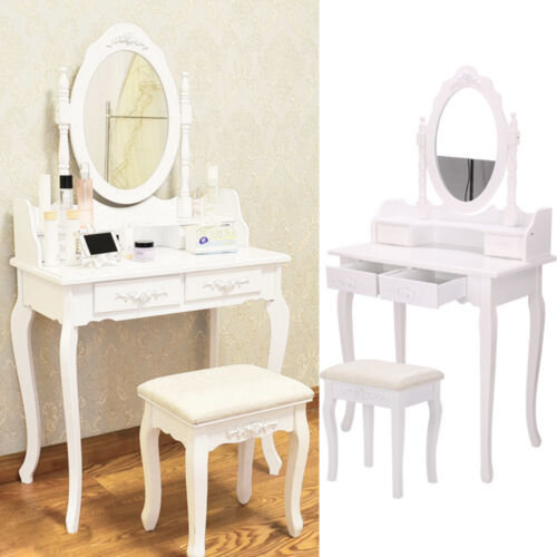 White Dressing Table Makeup Desk with 4 Drawers, Mirror Set and Stool