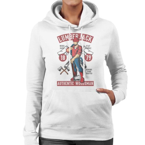 (X-Large, White) Lumberjack Authentic Woodsman Women's Hooded Sweatshirt