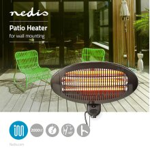 Nedis Patio Heater Wall Mounting 2000W Outdoor Space BBQ Heating