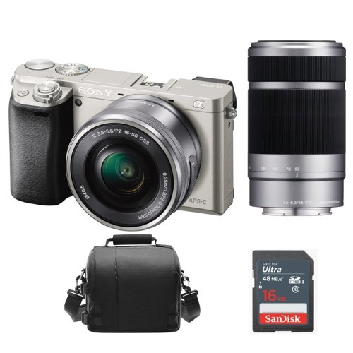 SONY A6000 Silver TWIN KIT 16-50MM 55-210MM + Bag + 16GB SD card