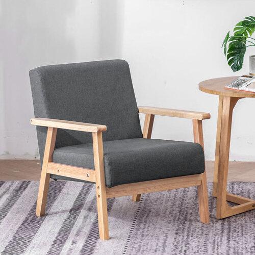 (Dark gray) Linen Fabric Accent Armchair Chair Sofa Cafe Seat