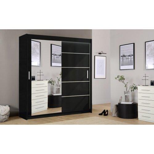 (Black, 203cm) Lyon Modern Bedroom Sliding Door Wardrobe