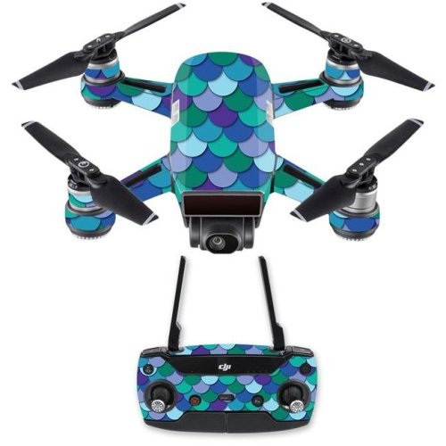 MightySkins DJSPCMB-Blue Scales Skin Decal for DJI Spark Mini Drone Combo Sticker - Blue Scales