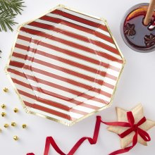 Red & Gold Striped Candy Cane Paper Plates 8pk