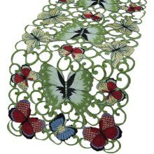 Xia Home Fashions Butterflies Embroidered Cutwork Spring Table Runner 15 Inch by 70 Inch