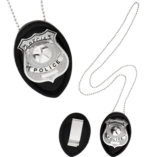 Clip On Police Badge Necklace Cop Detective Policeman Law Officer Fancy Dress