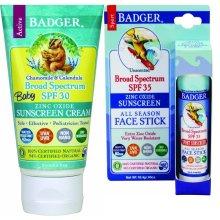 Badger - SPF 30 Baby Sunscreen Cream with Zinc Oxide, 2.9 fl oz & SPF 35 Clear Zinc Sport Sunscreen Stick, Unscented, 0.65 oz