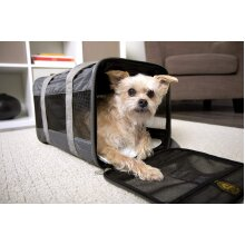 Original Deluxe Travel Pet Carrier, Airline Approved, Padded, Washable, with Carrying Strap, Mesh Windows, Safety Locks, Spring Frame