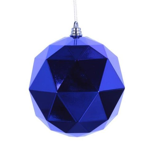 6 in. Blue Shiny Geometric Christmas Ornament Ball - 4 per Bag