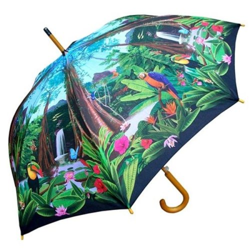 RainStoppers W3562RAINF 46 in. Auto Open Rainforest Print Umbrella with Wood Hook Handle, 12 Piece