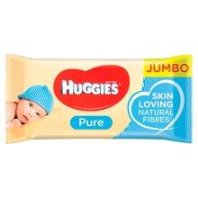 HUGGIES PURE JUMBO PACK 10 X 72 BABY WIPES PURE WATER NO PERFUME SKIN LOVING