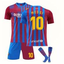 Lionel Messi Barcelona 2021/22 Home Soccer Jersey Set