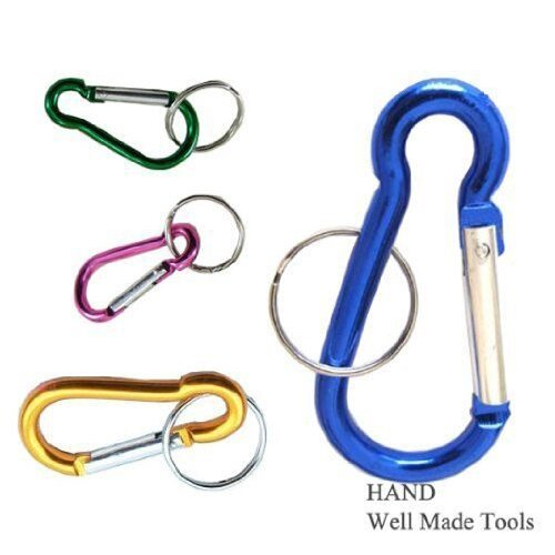 5 Pcs of Carabiner Spring Snap Link Hook with Key Ring 60mm 2.6