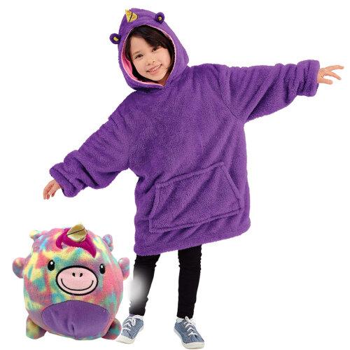 (purple) Blanket Sweatshirt - Huggle Pets Hoodie, Plush Animals Bathrobe Pajama Pillow One Size