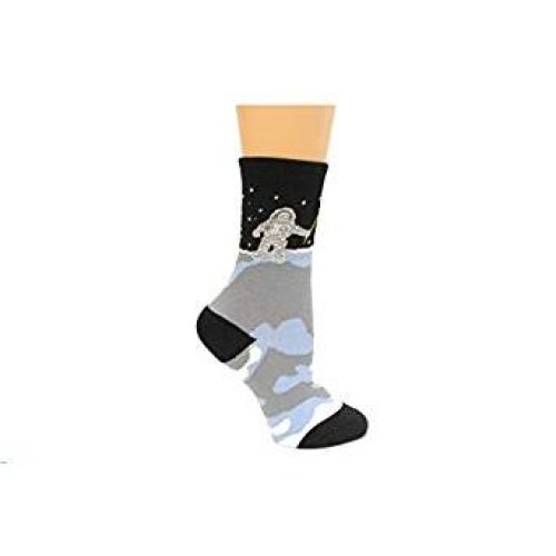 Kid's Crew Socks - K Bell - Kid's Man on the Moon Black (7-8.5)