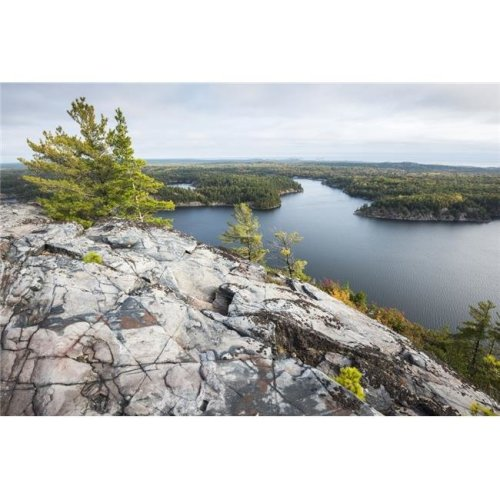 Beautiful View of A Fall Forest & George Lake From The Mountain Top - Killarney Ontario Canada Poster Print - 38 x 24 in. - Large