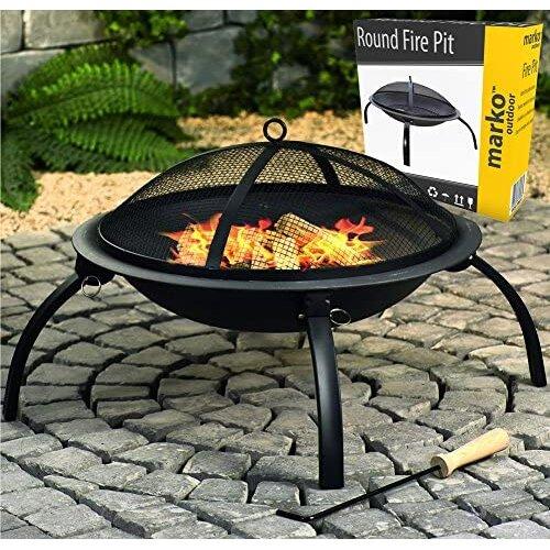 Black Fire Pit Round Outdoor Garden Steel BBQ Camping Patio Heater