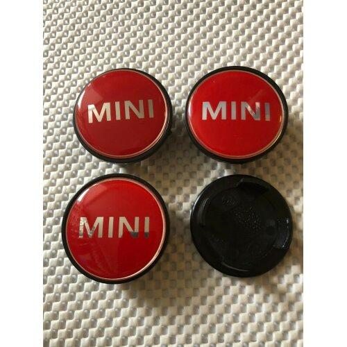 BIG RED MINI COOPER WORDS ALLOY WHEEL CENTRE HUB CAPS Emblem 54mm (4)