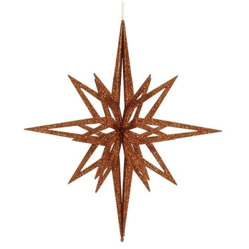 Vickerman M148428 Copper 3D Glitter Star Ornament, 24 in.