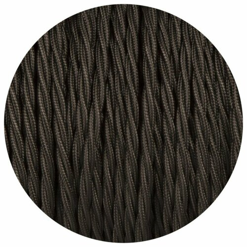 (5m) Black 3 Core Twisted Cable Fabric Covered 0.75mm