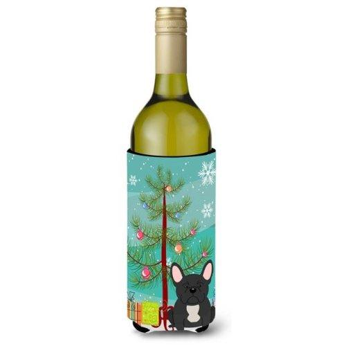 Merry Christmas Tree French Bulldog Black Wine Bottle Beverge Insulator Hugger