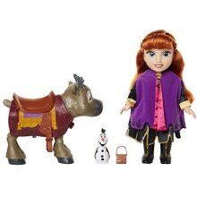 Frozen 2- Disney Princess Anna Doll with Olaf and the Reindeer Sven Figures from Frozen II Set, Colour Movie Replicas, One Size (Glop Games 207164)