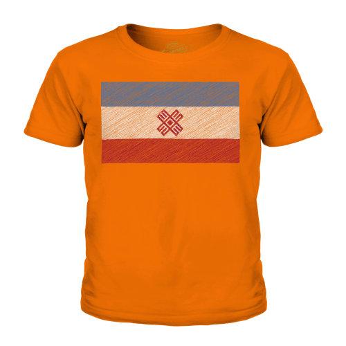 (Orange, 11-12 Years) Candymix - Mari El Scribble Flag - Unisex Kid's T-Shirt
