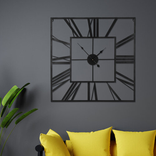 60CM  Metal Skeleton Roman Numeral Wall Clock Black Metal Square Shape