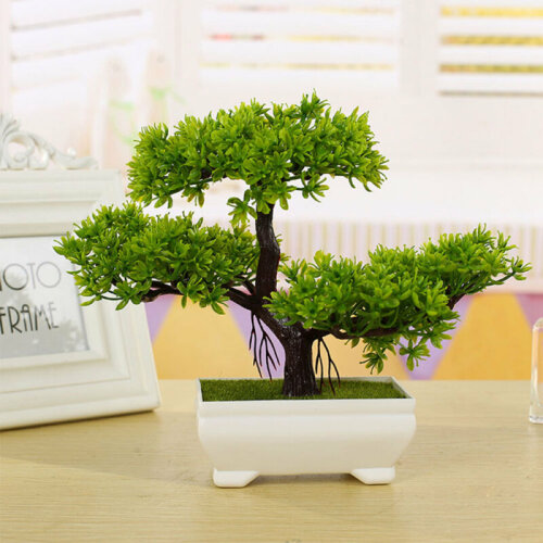 Bonsai Tree with Pot Artificial Plant Decoration Home Office Desk windowsill UK