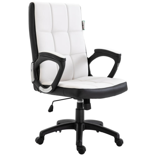 Vinsetto Office Swivel Chair Game Study PU Leather Padded 109-118cm White
