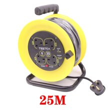 25M Outdoor Extension Cable Reel 230V 13A 4 Sockets Garden Heavy Duty