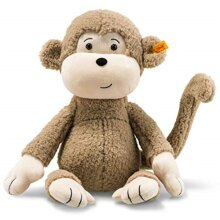 Steiff USA Brownie Soft Cuddly Friends Monkey Plush - Button in Ear Symbol of Quality, Light Brown Brownie Monkey, 16 inch (60328)