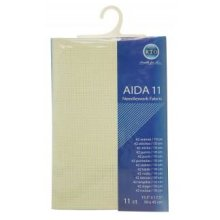 RTO prepacked Aida Cross stitch fabric ECRU 11 count, 15.5'' x 17.5''. 39cm x 45cm.