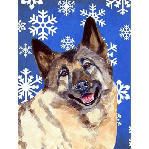11 x 15 In. Norwegian Elkhound Winter Snowflakes Holiday Flag, Garden Size