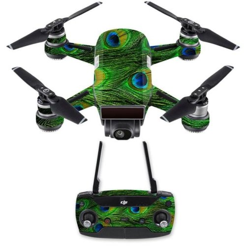 MightySkins DJSPCMB-Peacock Feathers Skin Decal for DJI Spark Mini Drone Combo - Peacock Feathers