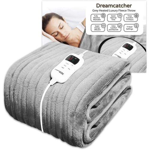 Dreamcatcher Deluxe Grey Electric Throw | Luxurious Heated Soft Fleece