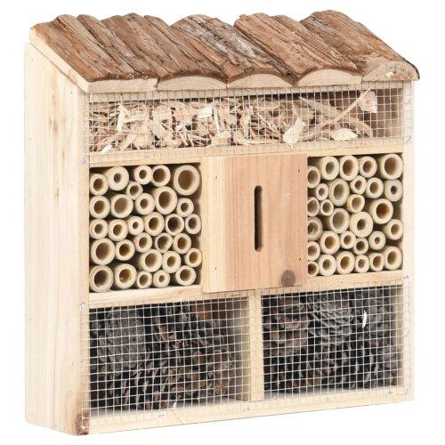 vidaXL Firwood Insect Hotel 30x10x30 cm Wooden Garden Wildlife Nesting House