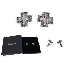 Craftuneed women retro stainless steel cross stud earrings silver pin