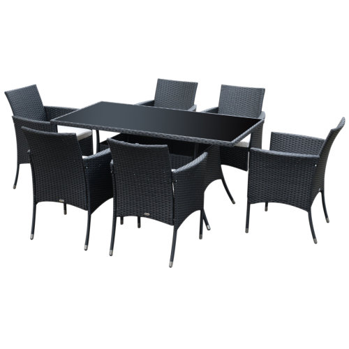 7pc Outsunny Outdoor Dining Rattan Garden Furniture Set