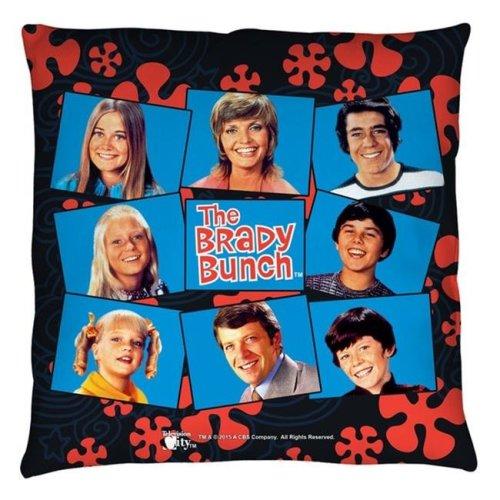 Trevco CBS1500-PLO3-18x18 Brady Bunch-Squares - Throw Pillow, White - 18 x 18 in.