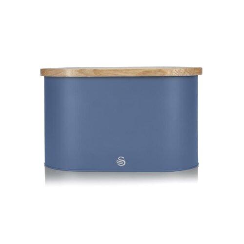 Swan Nordic Oval Bread Bin w/Bamboo Cutting Board Lid Scandi Carbon Steel Soft Touch - Blue