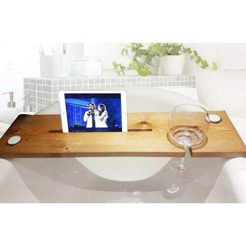 Kabalo Wooden Bath Caddy Tray Bathtub Board Shelf Wine Glass & Candle & Tablet Holder