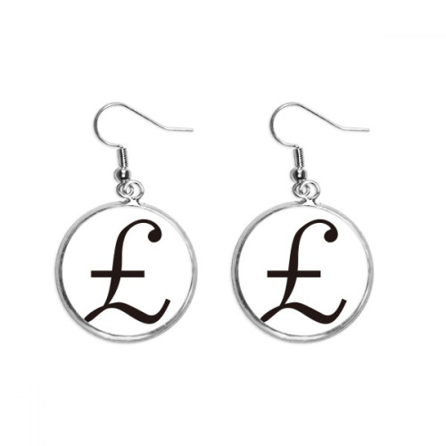 Currency Symbol Pound Ear Dangle Silver Drop Earring Jewelry Woman