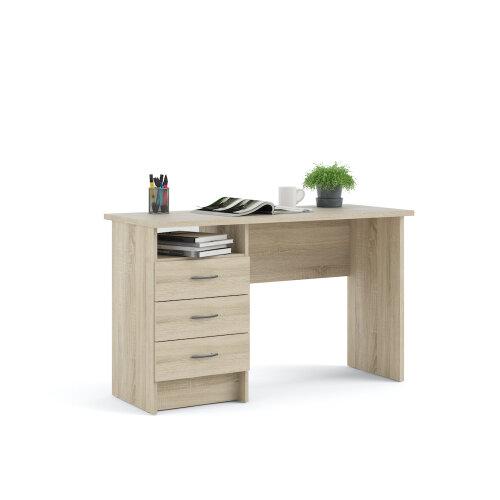 (Light Oak) Function Plus 3 Drawer Office Desk - Added Shelf