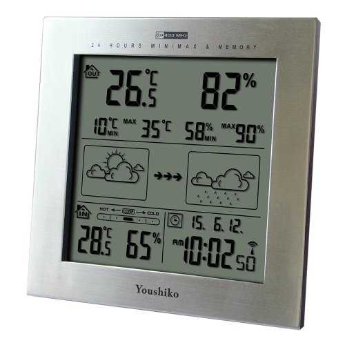 Youshiko Wireless Weather Station with Radio Controlled Clock (UK Version), Indoor Outdoor Temperature Thermometer, Humidity, Date & Frost Alarm,...