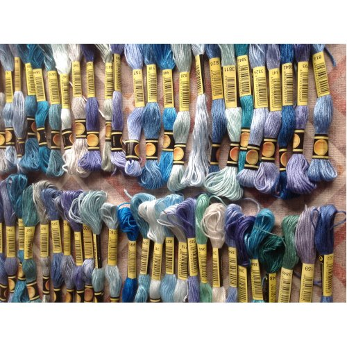 Mixed Shades of Blue Skeins of Embroidery Thread 50 off
